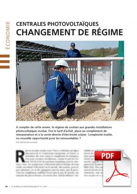 Article PDF - Centrales Photovoltaïques (Janvier/Février/Mars 2016)