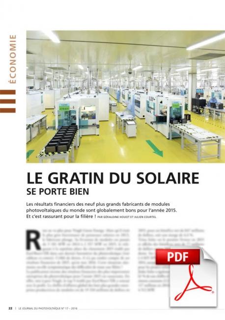 Économie : le gratin du solaire se porte bien